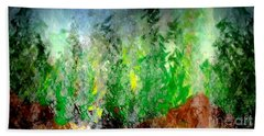 Hand Towel featuring the painting Trees 4 by John Krakora