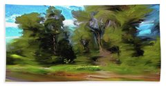 Trees Along The River Bath Towel by Lenore Senior