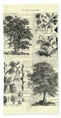 Trees Black And White Illustration Bath Towel