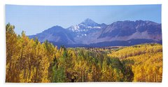 Trees In A Forest With Mountain Range Bath Towel