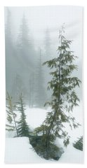 Trees In Fog Bath Towel