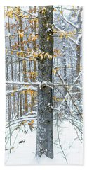 Trees In Snow Bath Towel
