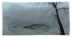 Trees In The Fog On The River Bath Towel