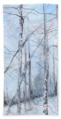 Trees In Winter Snow Bath Towel