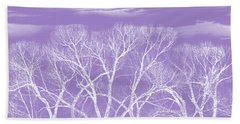 Bath Towel featuring the photograph Trees Silhouette Purple by Jennie Marie Schell