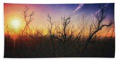 Treetop Silhouette - Sunset At Lapham Peak #1 Bath Towel by Jennifer Rondinelli Reilly - Fine Art Photography