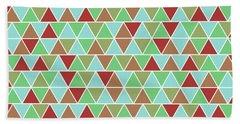 Triangular Geometric Pattern - Blue, Green, Maroon, Brown Bath Towel