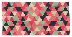 Triangular Geometric Pattern - Warm Colors 13 Bath Towel