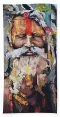 Hand Towel featuring the painting Tribal Chief Sadhu by Richard Day