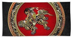 Tribute To Hokusai - Shoki Riding Lion  Hand Towel
