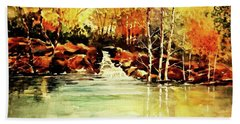 Trickling Spring In Autumn Hand Towel