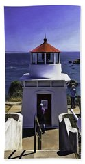 Bath Towel featuring the photograph Trinidad Memorial Lighthouse by Diane Schuster