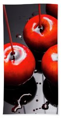 Trio Of Bright Red Home Made Candy Apples Hand Towel