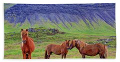 Bath Towel featuring the photograph Triple Horses by Scott Mahon
