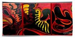Bath Towel featuring the painting Triptych Abstract Vision by Jolanta Anna Karolska