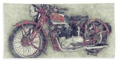 Triumph Speed Twin 1 - 1937 - Vintage Motorcycle Poster - Automotive Art Bath Towel