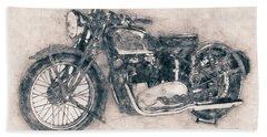 Triumph Speed Twin - 1937 - Vintage Motorcycle Poster - Automotive Art Bath Towel