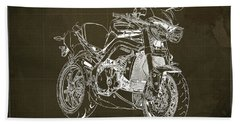 Triumph Street Triple R, 2014 Motorcycle Blueprint Brown Background Gift For Dad Bath Towel