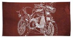 Triumph Street Triple R, 2014 Motorcycle Blueprint Red Background Bath Towel