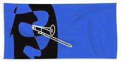 Trombone In Blue Bath Towel by David Bridburg