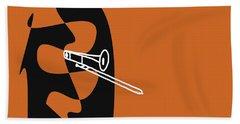 Trombone In Orange Bath Towel by David Bridburg