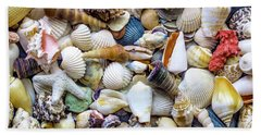 Hand Towel featuring the photograph Tropical Beach Seashell Treasures 1529b by Ricardos Creations