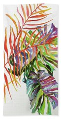 Bath Towel featuring the painting Tropical Fernery 2 by Rae Andrews