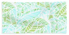 Tropical Lagoon Leaves Hand Towel