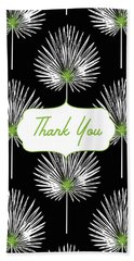 Tropical Leaf Thank You Black- Art By Linda Woods Bath Towel