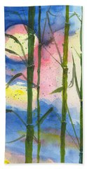 Hand Towel featuring the painting Tropical Moonlight And Bamboo by Darice Machel McGuire