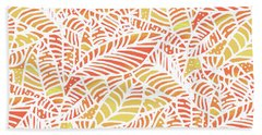Tropical Sunset Leaves Hand Towel