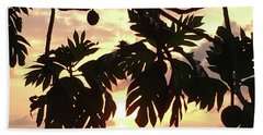 Hand Towel featuring the photograph Tropical Sunset Silhouette by Karen Nicholson
