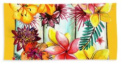 Hand Towel featuring the photograph Tropicana On Yellow By Kaye Menner by Kaye Menner