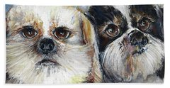 Hand Towel featuring the painting Trouble And Lexi by Bernadette Krupa