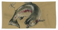 Trout Eating Hand Towel