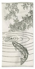 Trout Rising To Dry Fly Bath Towel