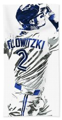 Hand Towel featuring the mixed media Troy Tulowitzki Toronto Blue Jays Pixel Art 2 by Joe Hamilton