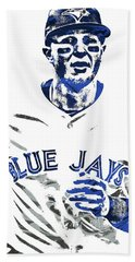 Hand Towel featuring the mixed media Troy Tulowitzki Toronto Blue Jays Pixel Art by Joe Hamilton