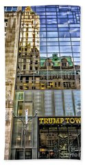 Hand Towel featuring the photograph Trump Tower With Reflections by Walt Foegelle