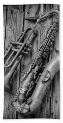 Trumpet And Sax Hand Towel