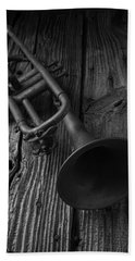 Trumpet In Black And White Hand Towel