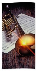 Trumpet With Sunset Hand Towel