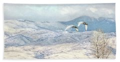 Bath Towel featuring the photograph Trumpeter Swans Winter Flight by Jennie Marie Schell