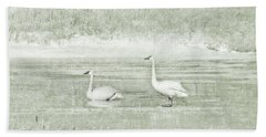 Hand Towel featuring the photograph Trumpeter Swan's Winter Rest Green by Jennie Marie Schell