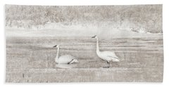 Hand Towel featuring the photograph Trumpeter Swan's Winter Rest Beige by Jennie Marie Schell