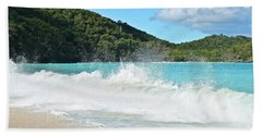Bath Towel featuring the photograph Trunk Bay Waves Crash Hard by Frozen in Time Fine Art Photography