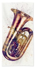 Tuba Abstract Watercolor Bath Towel