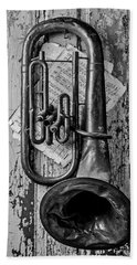 Tuba And Music On Door In Black And White Hand Towel