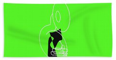 Tuba In Green Hand Towel by David Bridburg