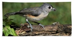 Tufted Titmouse On Tree Branch Bath Towel